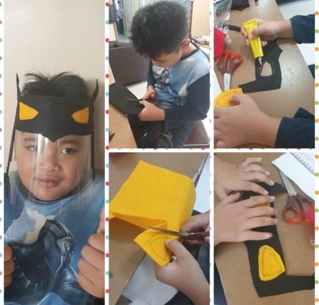 Mulai Batman Hingga Flora, Siswa SDM 4 Batu Kreatif Face Shield Karya Seni 2