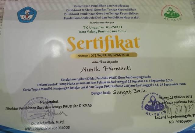 Guru ABA 12 Kota Malang, Kuliah S1 PAUD Langsung Semester 3 1